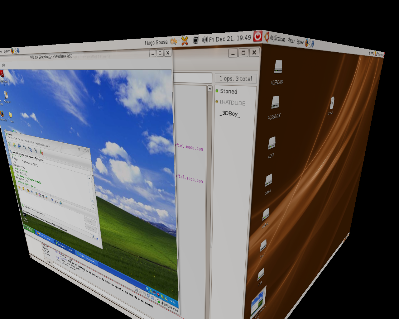 Ubuntu with Compiz-Fusion + XP on VirtualBox